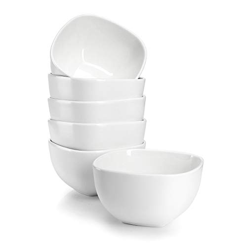 Sweese 1303 Porcelain Square Bowl Set - 14 Ounce for Cereal, Soup and Fruit - Set of 6, ()
