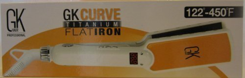 Global Keratin GK Curve Titanium 1.5'' Flat Iron (White & Yellow)