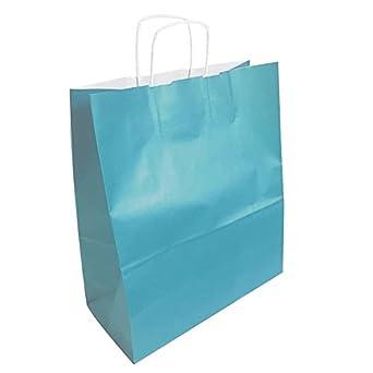 50 bolsas de papel, color azul turquesa 35 x 16 x 40 cm ...
