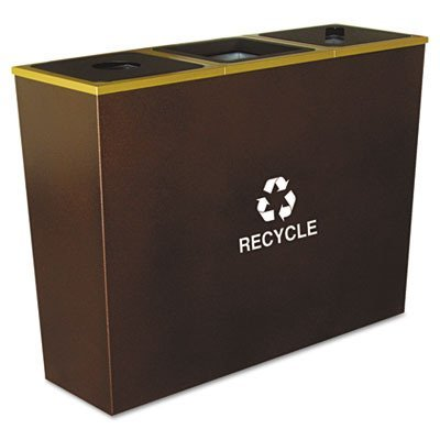 Ex-Cell Metro Collection Recycling Receptacle, Triple Stream, Steel, 54 Gallons, Brown (RC-MTR-3HCP) by excell