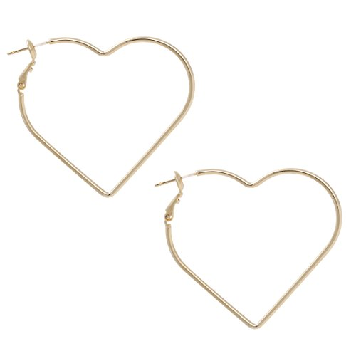 Heart Shape with Gold or Silver Rhodium Plated Hoop Statement Earrings ()