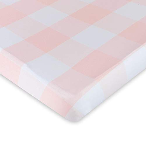 Fitted Crib Sheet 100% Premium Jersey Cotton 1 Pack Gingham Pink for Baby Girl ()