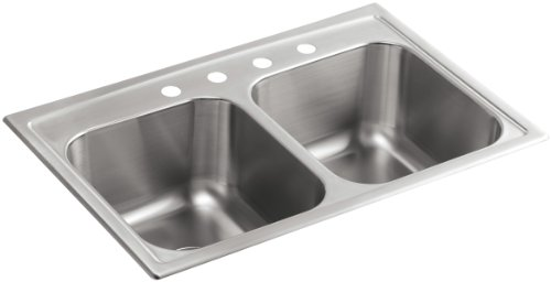 KOHLER K-3847-4-NA Toccata Top-Mount Double-Equal Bowl Kitchen Sink with 4 Faucet Holes, Stainless Steel by Kohler
