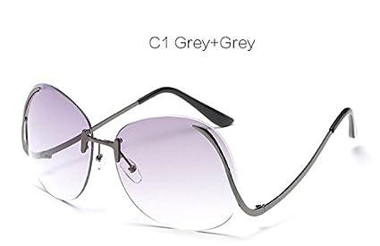 Embiofuels TM Rimless Gradient Fashion Sunglasses Women Oversized Clear  Lens Optics Metal Frame UV400 Vintage Sun 10f574cc69