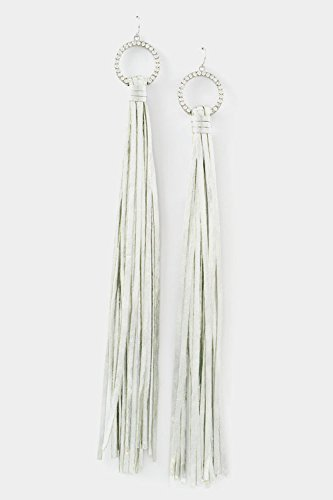 GlitZ Finery Circle Rhinestone Accent with Fringe Long Earring (Silver)