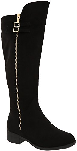 MVE Shoes Buckle Riding Knee High Boot With Gold Sipper, mve_shoes_kayley-5 black size (Black And Gold Boots)