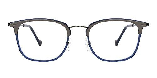 TIJN Mens Trendy Wayfarer Eyeglasses with Super Light Titanium to Acetate - Acetate Titanium