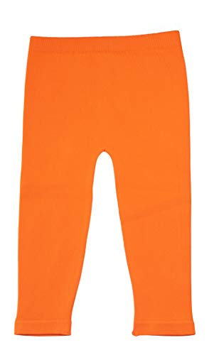 Silky Toes Baby Leggings, Toddler Seamless Soft Cotton Knit Pants for Girls and Boys (6-12 Months, Orange) -