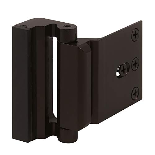 Defender Security U 11126 Door Reinforcement Lock  Add Extra, High Security to your Home and Prevent Unauthorized Entry  3 Stop, Aluminum Construction (Bronze Anodized Finish)