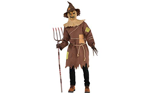 Amscan 847750 Standard Adult Scary Scarecrow Costume, Brown/Black -