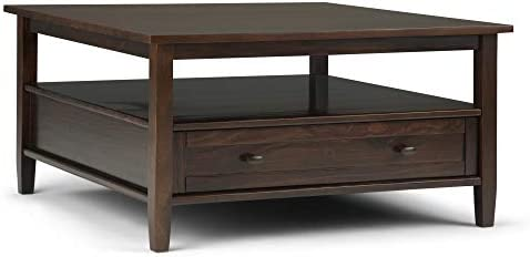 Simpli Home Warm Shaker SOLID WOOD 36 inch Wide Square Rustic Coffee Table in Tobacco Brown with Storage, 1 Drawer and 1 Shelf, for the Living Room, Family Room