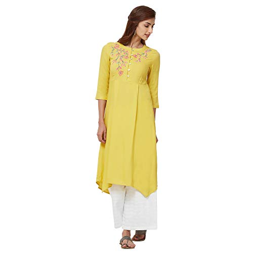 NAARI Women Rayon Embroidered 3/4Th Sleeve Mid Calf Length Kurti – Regular Fit – Yellow Color