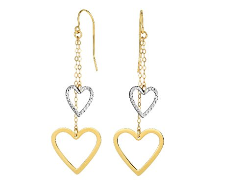 14k Yellow+White Gold Heart Double Strand Drop Earring with Euro Wire Clasp - Euro Wire