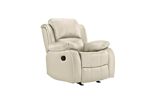 Casa Andrea Leather Rocker Recliner Chair, Home Theater Overstuffed Reclining Chair (Ivory)