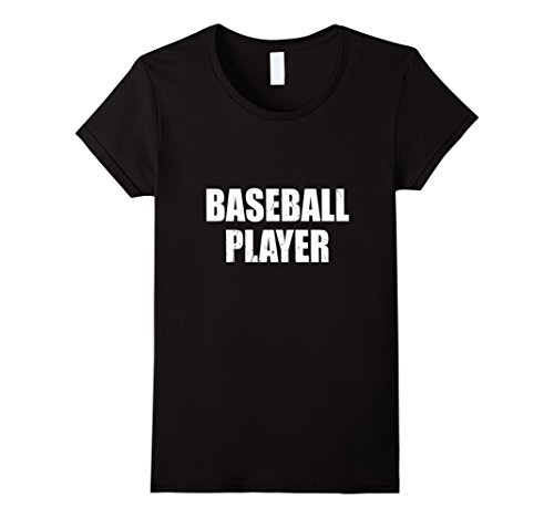Baseball Player Costume Female (Womens Baseball Player Halloween Costume Party Cute & Funny T shirt Large Black)