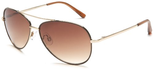 Andrea Jovine Women's A685 Aviator Sunglasses,Gold And Brown Frame/Gradient Brown Lens,one - Sunglasses Jovine Andrea