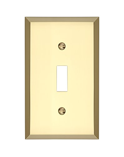 MAYKKE Graham Single Light Switch Cover | Premium 1-Toggle Wall Plate Standard Size | 5 Color Finishes to Choose From | Polished Brass, ALA1010101