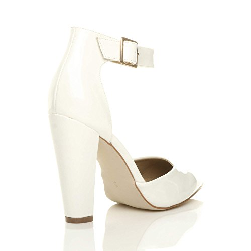 Large Blanc Boucle Femmes Verni Haute Escarpins Chaussures Talon Pointure Pointu Lanière Ajvani PETq4