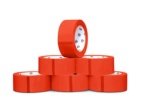 Red Carton Sealing Colored Packing Shipping Tape 2'' 55 Yards 36 Rolls 2 Mil by PackagingSuppliesByMail