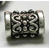 DIY Jewelry Making: 24 pcs Tibetan Silver Beads, Column, Antique Silver, about 5mm wide, 7.3mm long, hole: about 2.2mm
