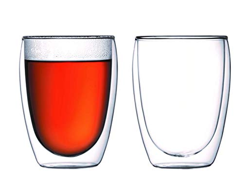 Double Walled Glasses Thermo Tumber 11.7-Ounce 350ml, Set of 2 Barware, Drinkware, Glassware