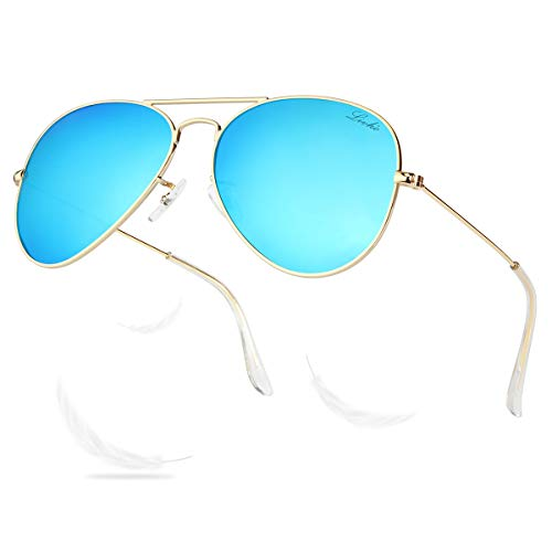 LIVHO Classic Aviator Sunglasses for Women Men Polarized,Metal Frame Mirror UV Lens Protection(Gold Deep Blue, ()