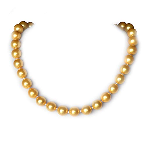 ELAINZ HEART 12mm Big Round Pearl Strand Necklace (not Plastic or Freshwater Pearl) for Women Mummy Mom Mother(Golden)