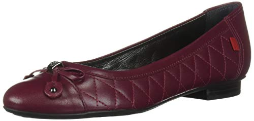 MARC JOSEPH NEW YORK Womens Leather Made in Brazil Pearl Street Flat Ballet, Merlot Quilted Nappa 5.5 B(M) US