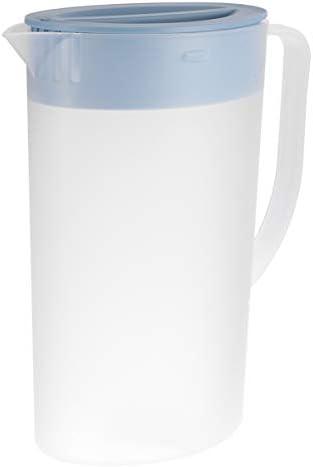 Cabilock Großer Plastikkrug mit Deckel Hitzebeständig Heißer Kaltwasserkaraffe Wasserkrug mit 4 Stück Tassen für Saft Getränkeglas Eistee Wasserkocher Blau 1. 6L