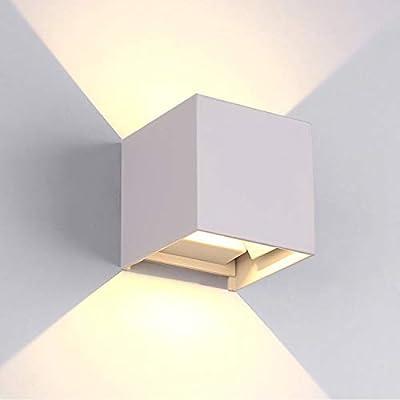 Lampade Per Esterno A Parete.Tvfly Lampada Da Parete A Led Per Interni Esterni 3000k In Alluminio Impermeabile Ip65 12w Bianco Caldo 10x10x10 Cm