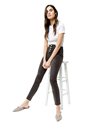 Rsq Exposed Button Manhattan High Rise Skinny Jeans, Washed Black, 3