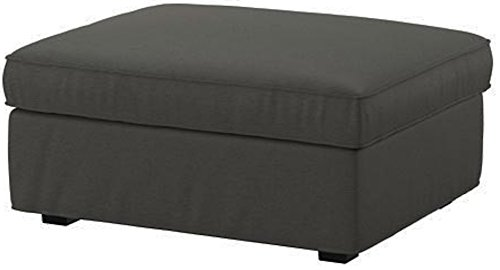 The Heavy And Durable Cotton Kivik Footstool Cover Replacement Is Custom Made for Ikea Kivik Ottoman Slipcover. (Dark Gray) (Ottoman Covers Ikea)