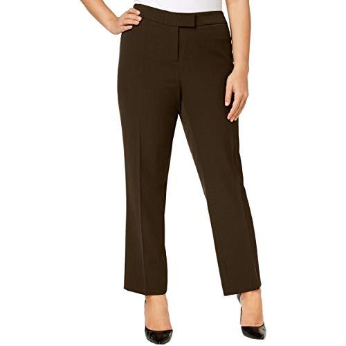 Anne Klein Womens Plus Crepe High-Rise Straight Leg Pants Green ()