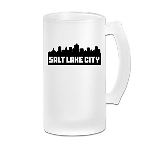 Double Wall Frosty Beer Mug - Personalized Salt Lake City Utah Skyline Freezer Beer Cup With Handle - 16oz -