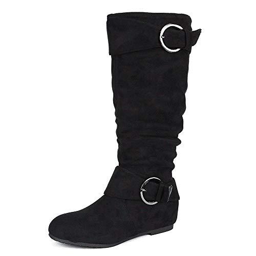 DREAM PAIRS Women's URA Black Suede Knee High Low Hidden Wedge Boots Wide Calf Size 11 M US