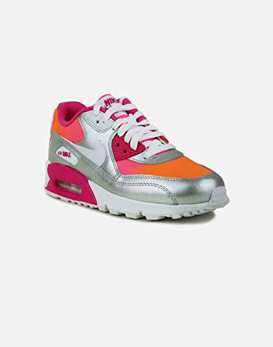 online retailer 77264 b301f Nike Girl s Air Max 90 Premium Running Shoes, Bright Citrus White Pink Pow