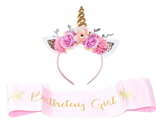 Girls Gold Unicorn Headband,& Pink Silk Unicorn Birthday Sash,Unicorn Party Supplies for Kids Adults
