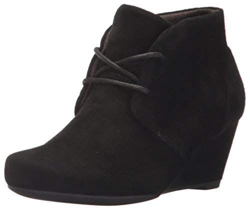 Fabric Lace Up Wedges (CLARKS Women's Flores Rose Ankle Bootie, Black Suede, 5 M US)