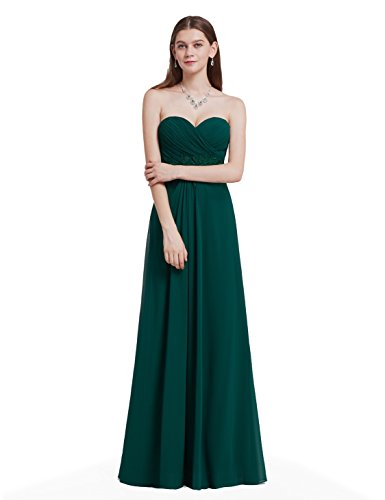 Embroidered Strapless Gown - Ever-Pretty Womens Strapless Long Embroidered Prom Dress 8 US Dark Green