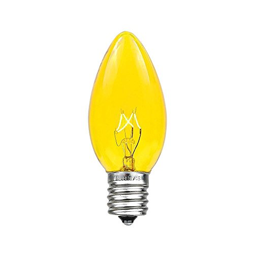 Novelty Lights 25 Pack C9 Outdoor Christmas Replacement Bulbs, Yellow, E17/C9 Base, 7 Watt