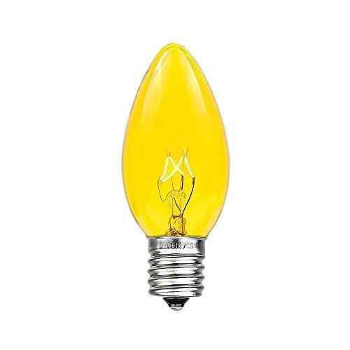 Novelty Lights 25 Pack C9 Outdoor Christmas Replacement Bulbs, Yellow, E17/C9 Base, 7 Watt