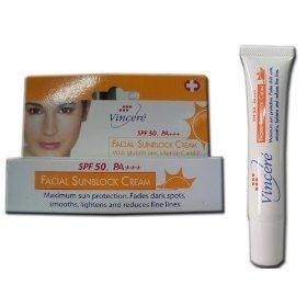 (Vincere Facial Sunblock Cream Spf 50, Pa+++ with Glutathione Vitamin C & E 15 Ml Amazing of Thailand)