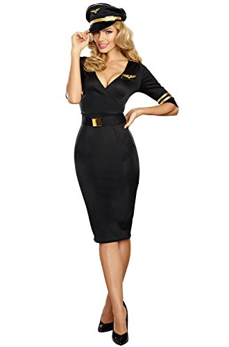 Dreamgirl Women's Flight Captain, black, L