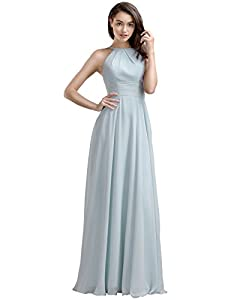 AW Bridal Women's Long Bridesmaid Dresses Vintage Prom Dresses Jewel Neck Evening Dresses Chiffon