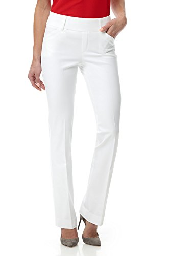 Rekucci Women's Smart Chic Bootcut Pull On Pant in Ultimate 360 Degree Stretch Cotton (12,White) - White Slacks