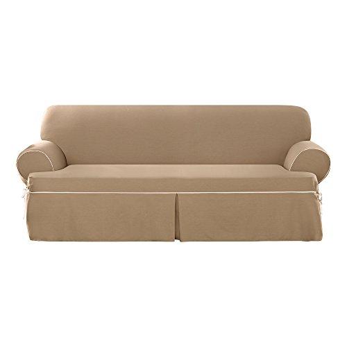 Sure Fit Cotton Duck - Sofa Slipcover  - Cocoa/Natural (SF40812)
