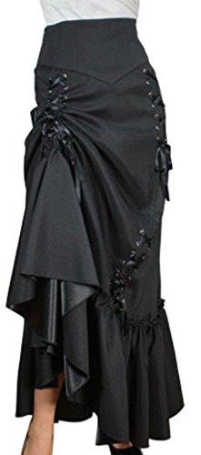 ((XS-28) Steampunk Ball - Black Victorian Gothic Sateen Corset Skirt (P24))
