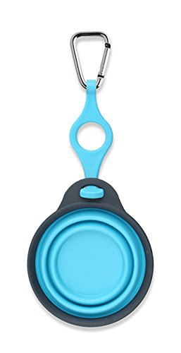 (Dexas Popware for Pets Travel Pet Cup with Bottle Holder and Carabiner, Gray/Blue)