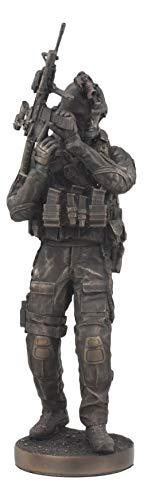 "Ebros Large Modern Warfare Infantry Statue 14""Tall Military Rifle Unit Soldier Figurine"