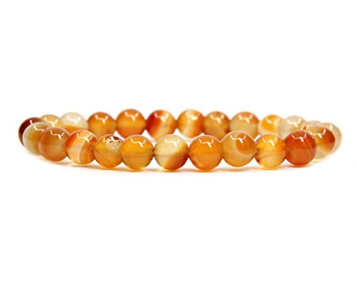 "Dream Red Agate Gemstone 8mm Ball Beads Stretch Bracelet 7"" Unisex"